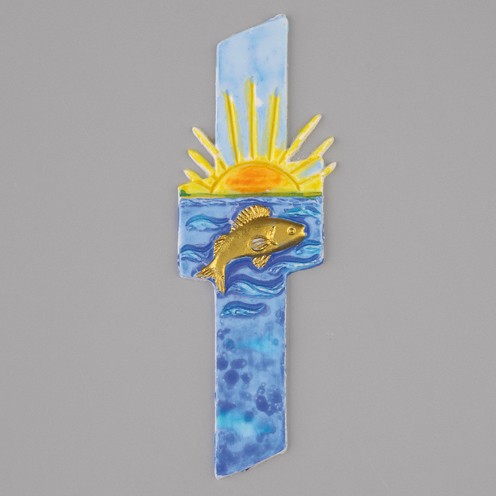 Wachsmotiv Kreuz mit Fisch+Sonne,140 x 45 mm