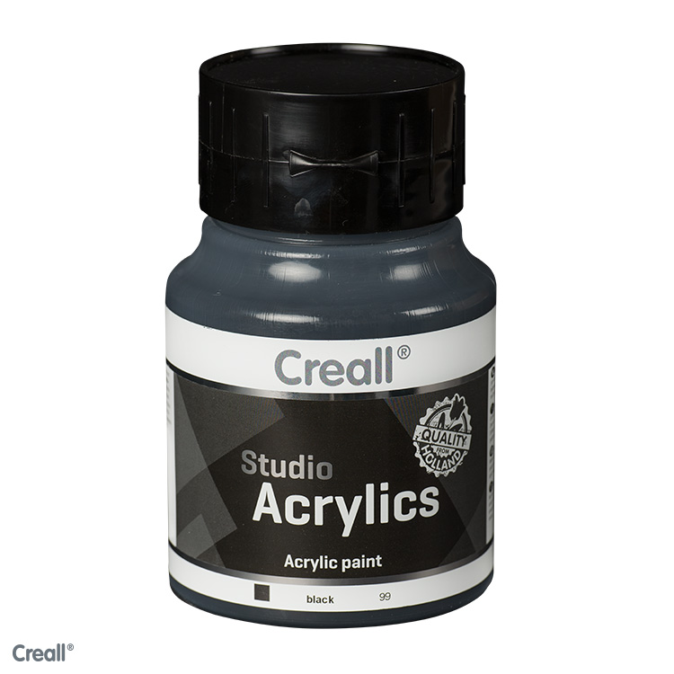 creall studio acrylfarbe 500 ml schwarz kreativ depot. Black Bedroom Furniture Sets. Home Design Ideas