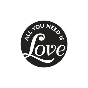 Einlege-Label, Ø 45 mm, all you need is Love