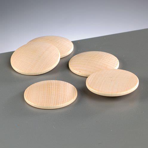 Holz-Platine, rund, gewölbt, 8 Stück, Ø 25 mm