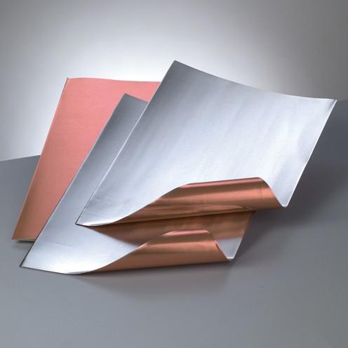 Alu-Metallfolie, 20 x 30cm, 3 Bogen, kupfer/silber
