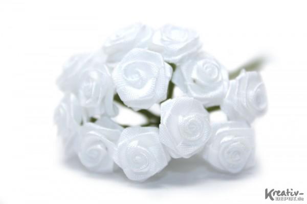 Satinröschen, 12 Stück, Ø 12 mm, weiß