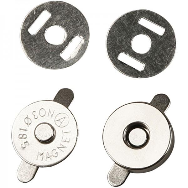 Magnetverschluß, rund aus Metall, 18 mm, 3 Stück