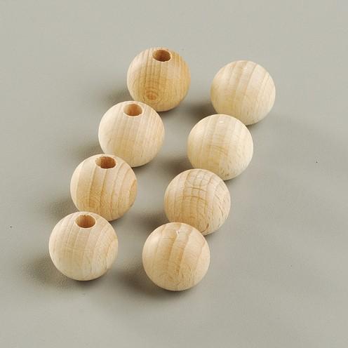Holzkugel, roh, halbgebohrt, 15 Stück, Ø 15 mm