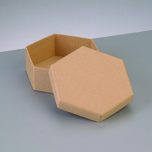 Box Sechseck, aus Pappmaché, 10,5 x 10,5 x 6 cm