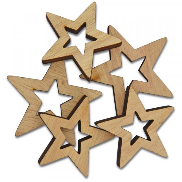 Sterne aus Holz, gelasert, 5 Stück sort.