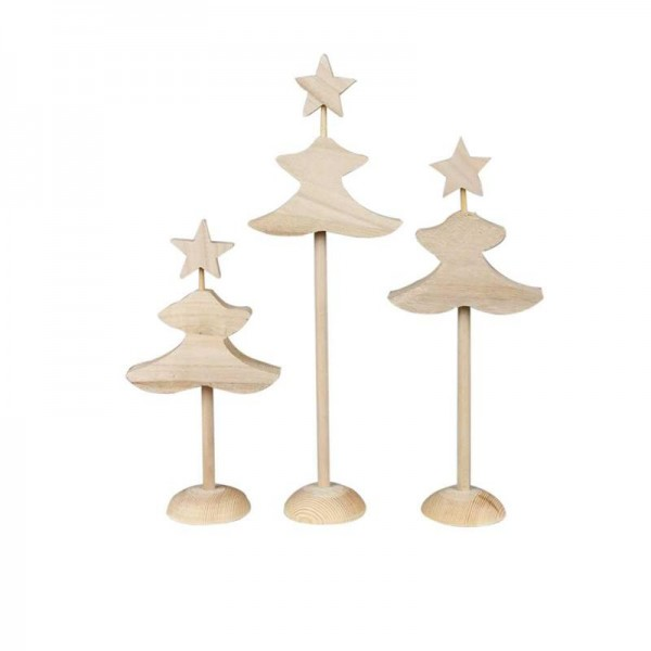 Tannenbaum-Set aus Holz, 6 Stück, 26 cm