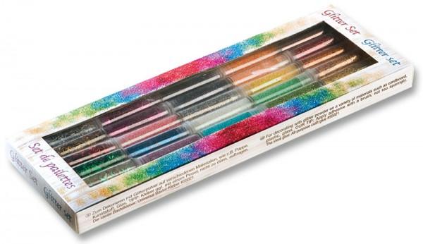 Glitter-Set, 30 Röhrchen à 3 g, farbig sortiert