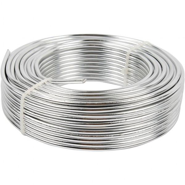 Aluminiumdraht, 3 mm Ø, Silber, rund, 29 mtr