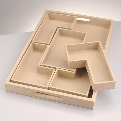 Tablett Rechteck, aus Pappmachè, 6-tlg., 45x30x4 cm
