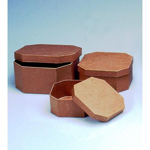 Boxen-Set Achteck, aus Pappmaché, 3-teilig