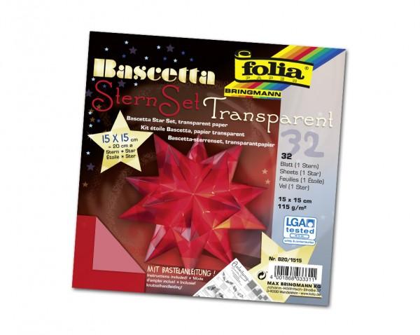 Faltblätter Bascetta-Stern, 15 x 15 cm, Transparentpapier rot