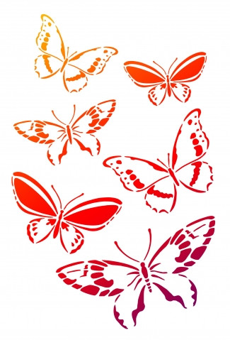 Viva Decor Universal-Schablone, DIN A4, Schmetterlingsschwarm