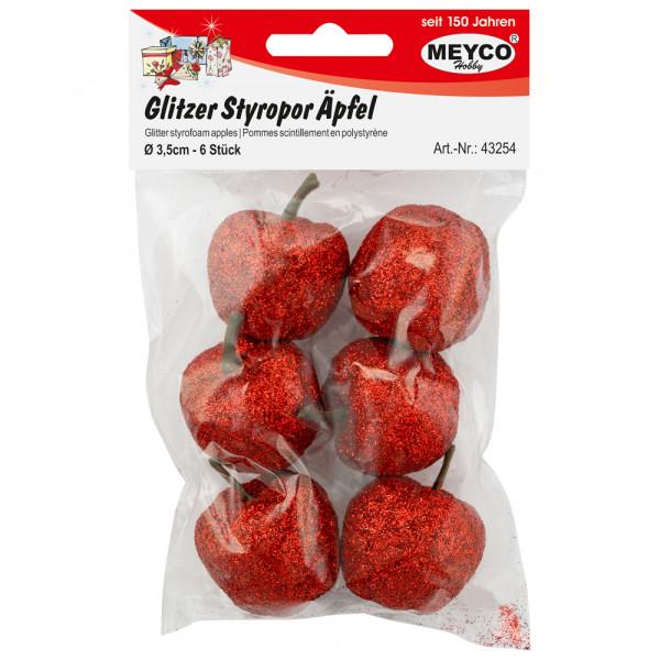 Glitzer-Styropor-Äpfel, rot, 3,5cm, 6 Stk