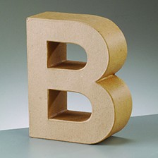 Buchstabe B, 5x2 cm, aus Pappmaché