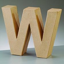 Buchstabe W, 10 x 3 cm, aus Pappmaché