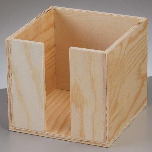 Zettelbox aus Holz, 11 x 11 x 10 cm