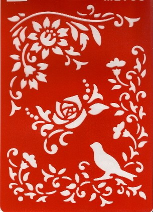 Motiv-Schablone Blüten & Vogel