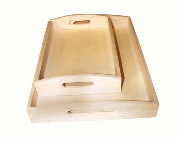 Holz-Tablett-Set, 2 Stück, 30 x 20 cm und 39 x 28 cm