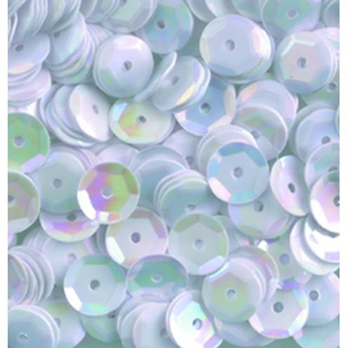 Pailletten, rund, gewölbt, 6 mm, 4000 St, weiß iris