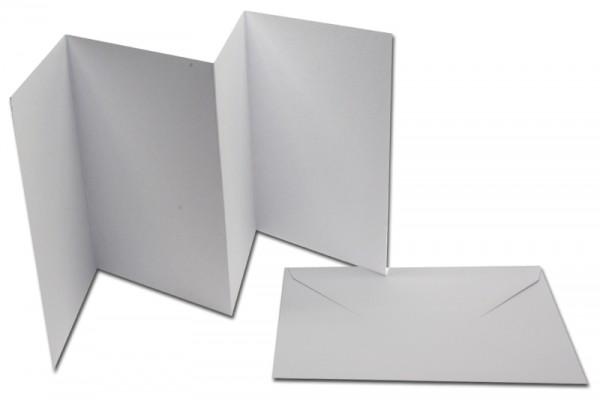 Leporello-Karten, 3 Karten, 3 Kuverts, weiß