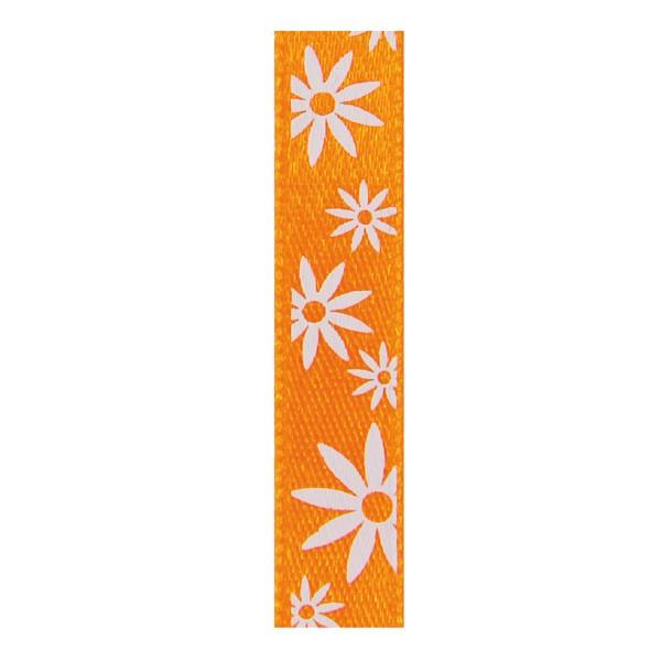 Satinband mit Blumenmuster, 10mm - orange