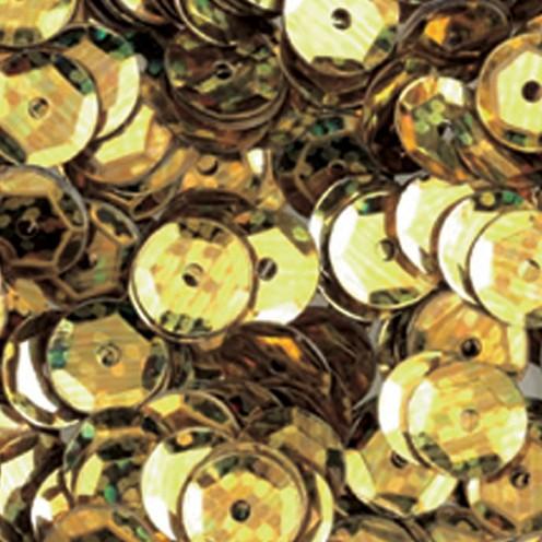 Pailletten, rund, gewölbt, 6 mm, 4000 St, gold hologramm
