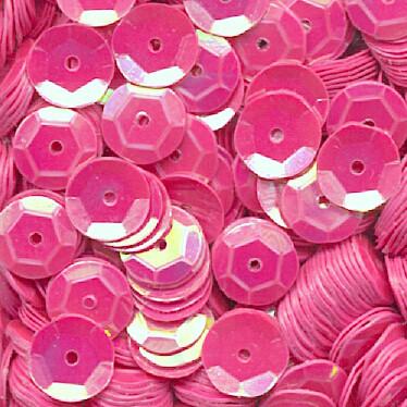 Pailletten, rund, gewölbt, 6 mm, 1400 St, pink-iris