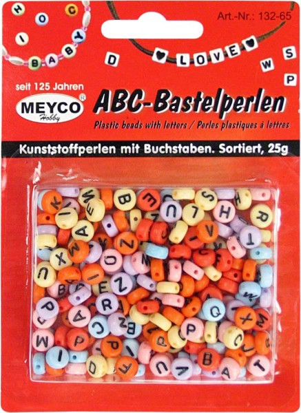 ABC-Kunststoffperlen, 25g, rund