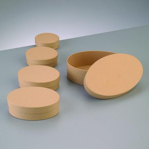 Boxen-Set Oval, aus Pappmaché, 5-teilig