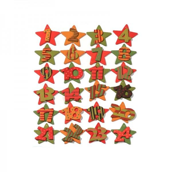 Holzzahlen-Set 1-24 - orange, rot, grün