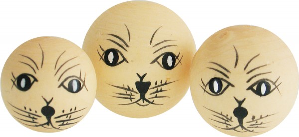 Puppenkopf Katzenkopf, aus Holz, 3 Stück