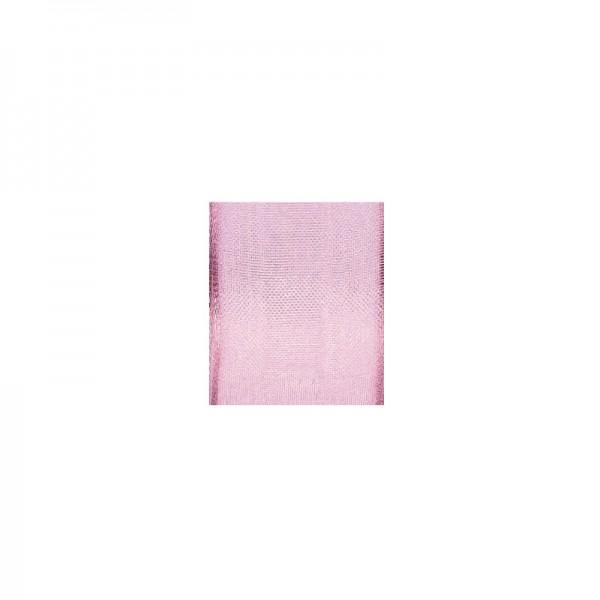 Chiffonband mit Drahtkante, 25mm breit, 5m lang - rosa