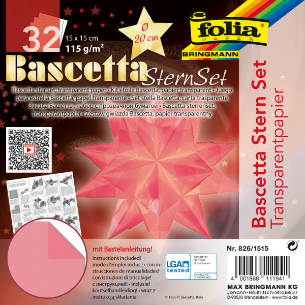Faltblätter Bascetta-Stern, 20 x 20 cm, Transparentpapier rosa