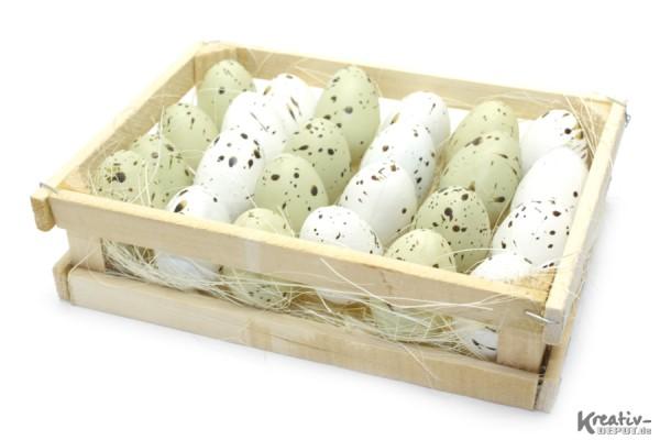 Wachtel-Eier im Holzkorb, aus Kunststoff, 4 cm, 24 Stück