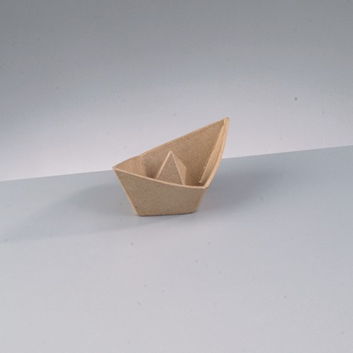 Schale Faltschiffchen, aus Pappmachè, 14 x 8 x 5,5 cm