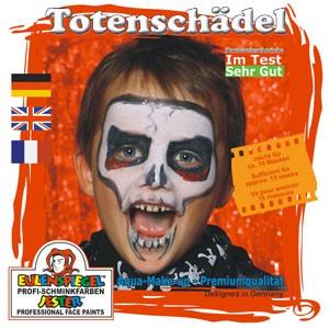 Eulenspiegel Schminkfarbe Motiv-Set Totenschädel, 4 Farben