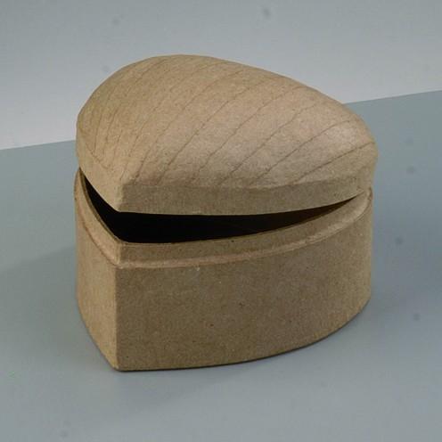 Box Schatztruhe Herz, bombiert, aus Pappmaché, 10 x 10 x 7 cm