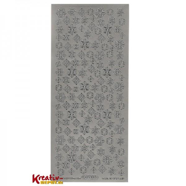 Sticker verschiedene Schneeflocken - silber