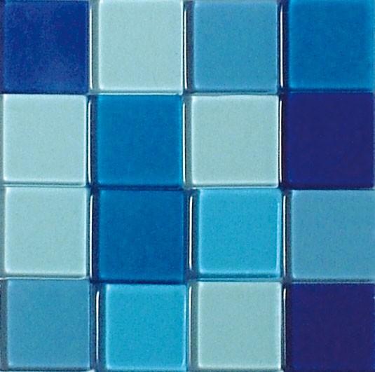 Mosaic Acryl, 1 x 1 cm, ca. 50 g, transparent, azurblau