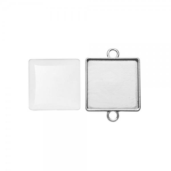 Cabochon + Anhänger, quadratisch 27x27 mm - Doppelösen