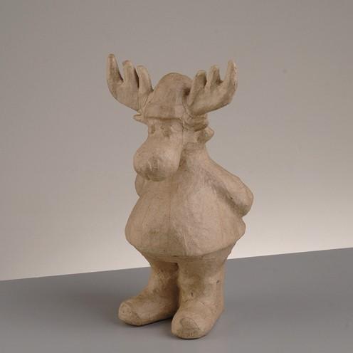 Rentier stehend, aus Pappmachè, 10 x 8 x 19 cm