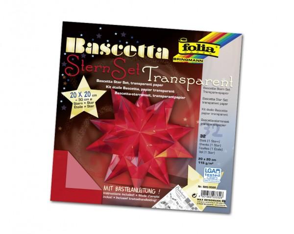 Faltblätter Bascetta-Stern, 20 x 20 cm, Transparentpapier rot