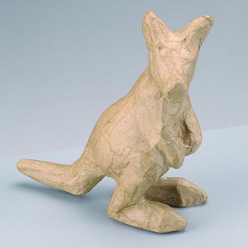 Känguruh, aus Pappmachè, 10 x 4,5 x 11 cm