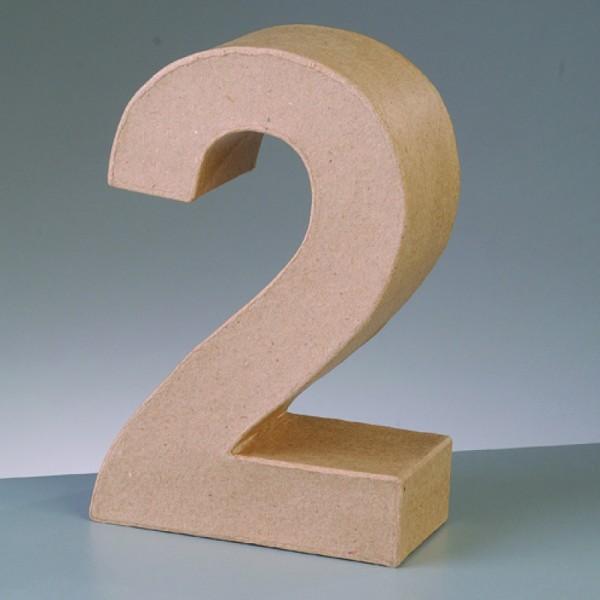 Zahl 2, 5x2 cm, aus Pappmaché