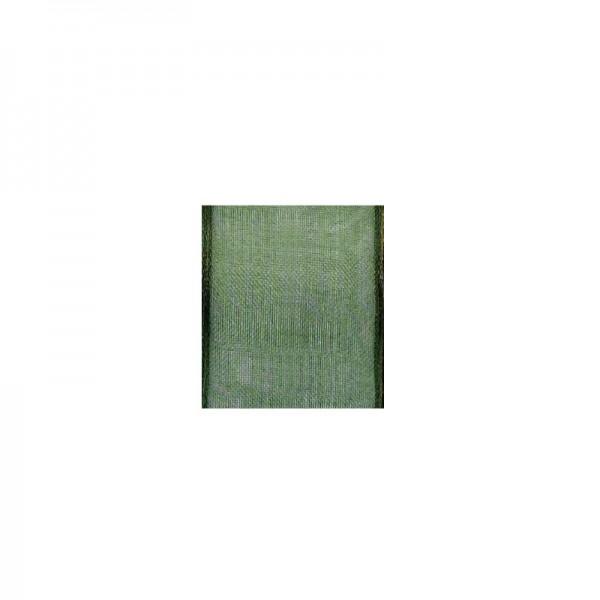 Chiffonband mit Drahtkante, 25mm breit, 5m lang - moosgrün