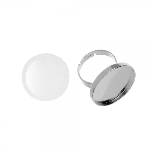 Cabochon + Fingerring, rund - ⌀ 27 mm