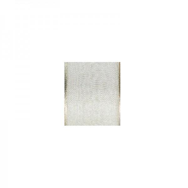 Chiffonband mit Drahtkante, 25mm breit, 5m lang - creme
