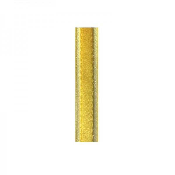 Satinband mit Chiffonkante, 10mm, - zitronengelb