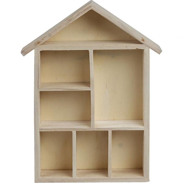 Setzkasten, in Hausform, aus Holz, 30 x 22 x 3,5 cm